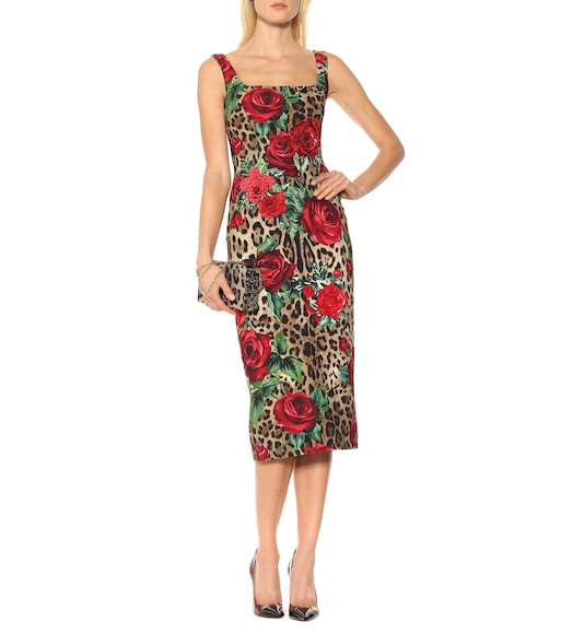 Dolce & Gabbana - Embellished printed midi dress - mytheresa.com