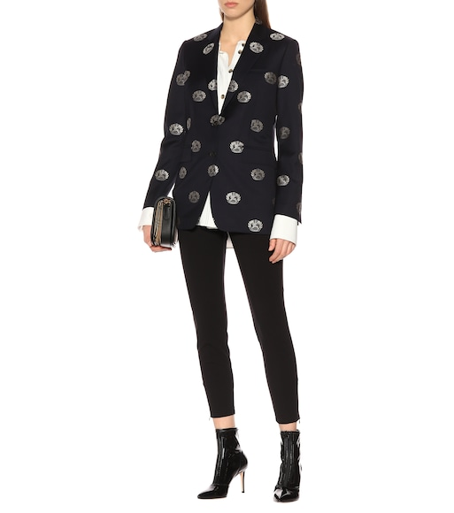 Burberry - Embroidered wool twill blazer - mytheresa.com