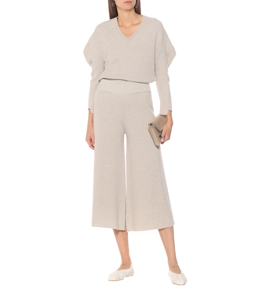 Stella McCartney - Ribbed wool and alpaca wide-leg pants - mytheresa.com