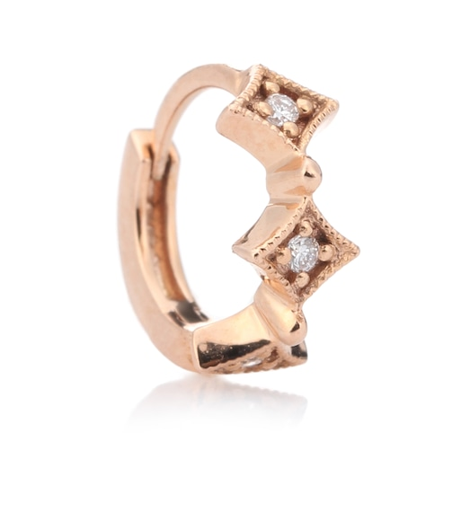 Stone Paris - Tiny Hoop Divine 18kt rose gold and diamond earring - mytheresa.com