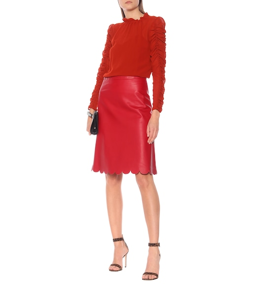 139690f3b9 REDValentino - Scalloped A-line leather skirt - mytheresa.com
