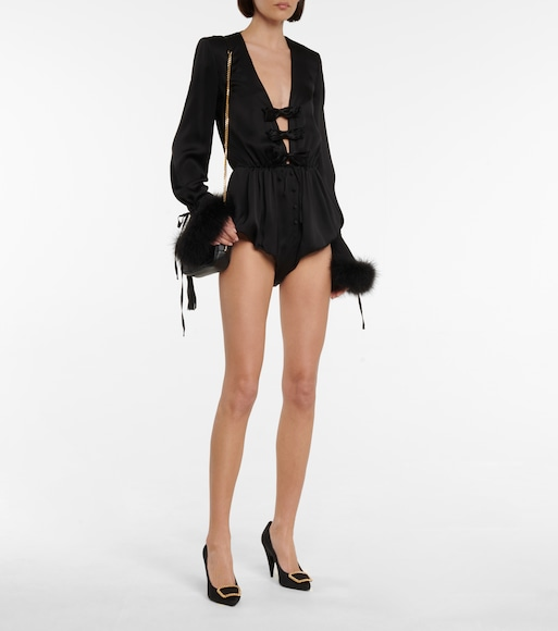 Saint Laurent - Feather-trimmed silk satin playsuit - mytheresa.com