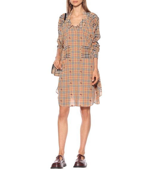 Burberry - Checked silk shirt dress - mytheresa.com