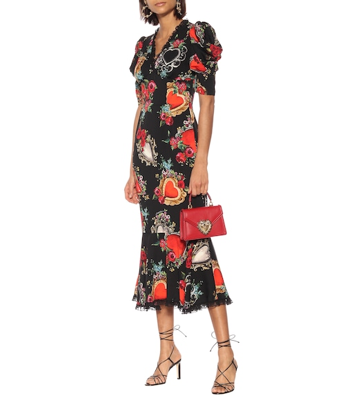Dolce & Gabbana - Printed silk-blend crêpe midi dress - mytheresa.com