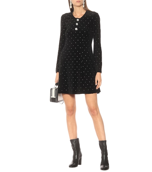 Marc Jacobs - Embellished velvet minidress - mytheresa.com