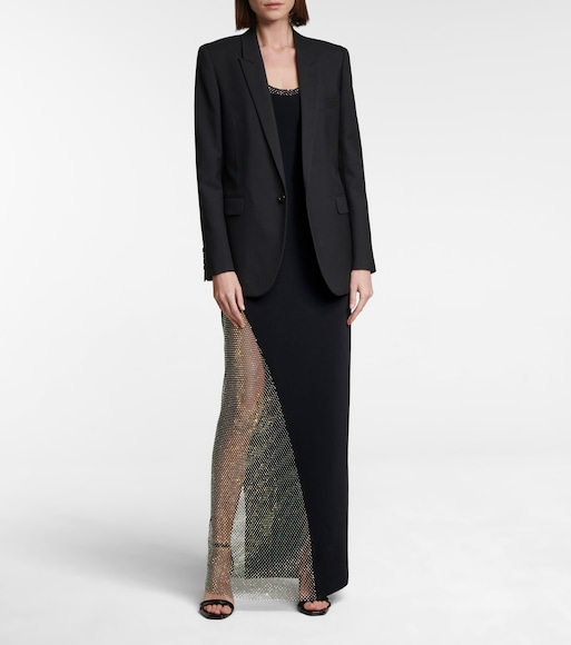 David Koma - Crystal mesh and crêpe gown - mytheresa.com