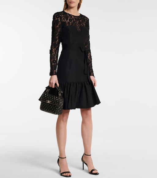 Carolina Herrera - Lace-trimmed silk taffeta minidress - mytheresa.com