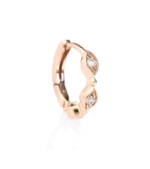 Stone Paris - Mini Créole Yasmine 18kt rose gold hoop earring with white diamonds - mytheresa.com