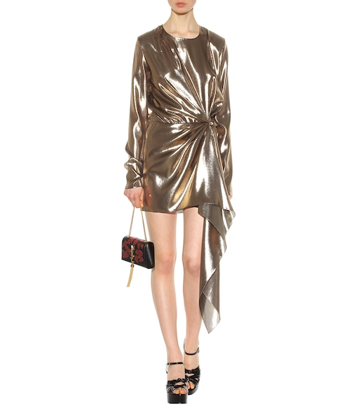 Saint Laurent - Lamé silk-blend dress - mytheresa.com