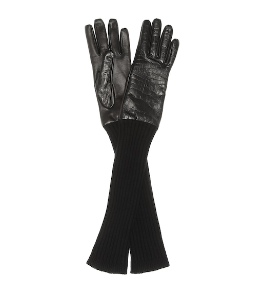 Max Mara - Lani leather and wool gloves - mytheresa.com