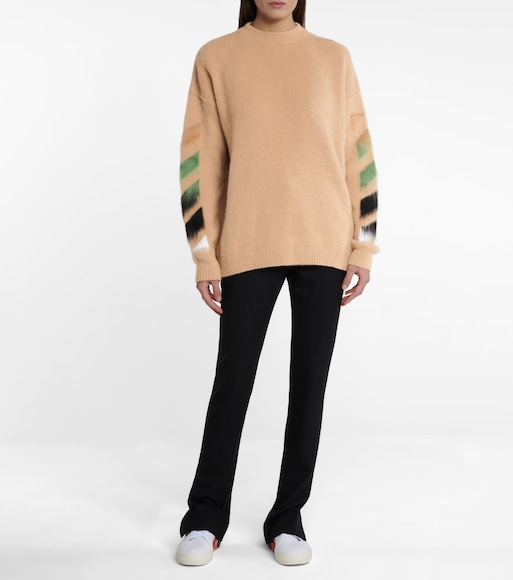 Off-White - Logo wool and mohair-blend sweater - mytheresa.com