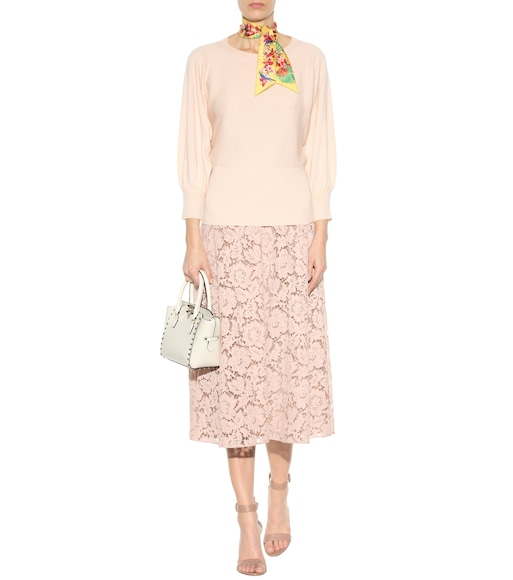 Valentino - Lace cotton-blend skirt - mytheresa.com