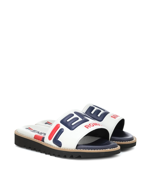 Fendi Kids - FENDI MANIA leather slides - mytheresa.com