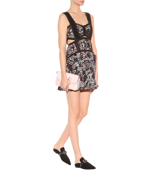 Self-Portrait - Jacquard-Kleid mit Plissees und Cut-outs - mytheresa.com