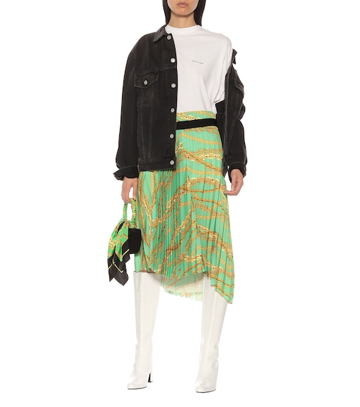 Balenciaga - Printed asymmetric pleated skirt - mytheresa.com