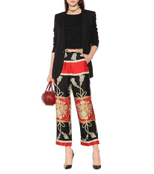 Gucci - Printed silk wide-leg pants - mytheresa.com
