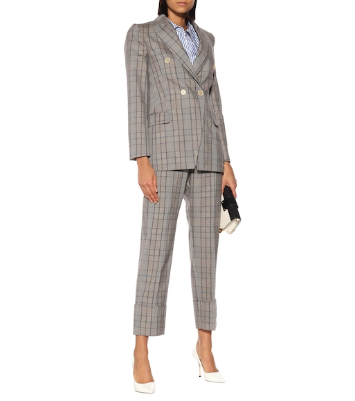 Brunello Cucinelli - Checked wool and cotton pants - mytheresa.com