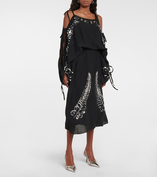 Prada - Sequined silk off-shoulder midi dress - mytheresa.com