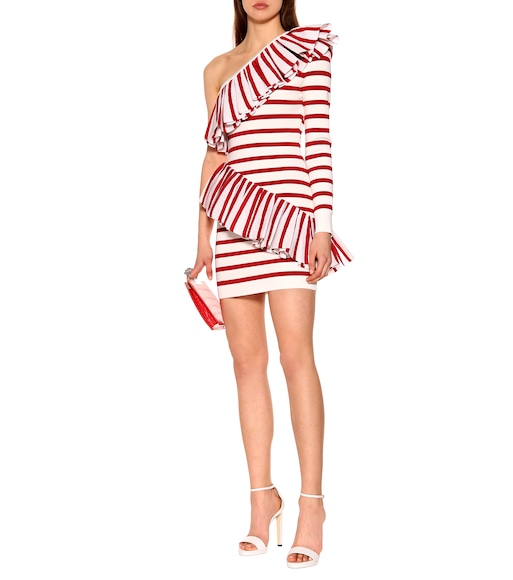 Balmain - One-shoulder striped knit dress - mytheresa.com
