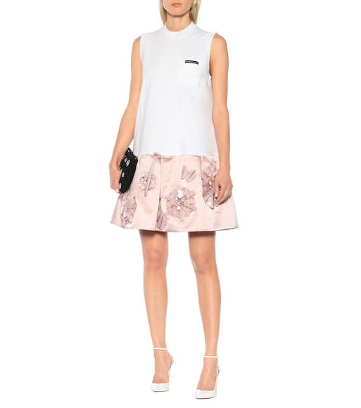 Prada - Embellished cotton and silk minidress - mytheresa.com
