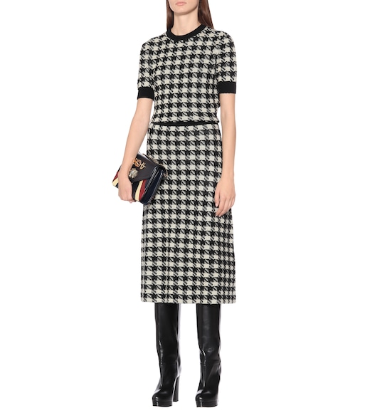 Gucci - Houndstooth cashmere and silk skirt - mytheresa.com