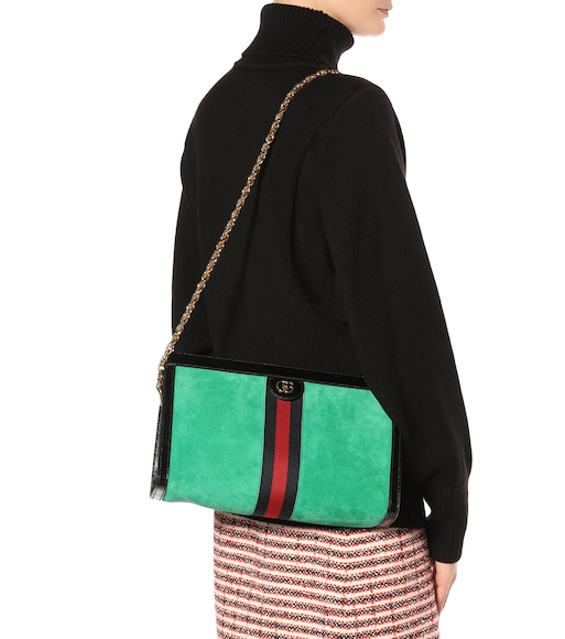 Gucci - Ophidia medium suede shoulder bag - mytheresa.com