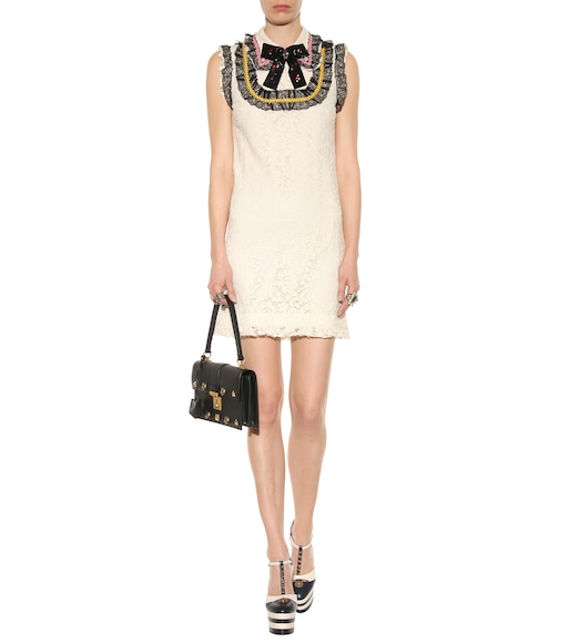 Gucci - Embellished lace mini dress - mytheresa.com