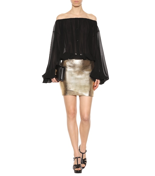 Saint Laurent - Coated knitted skirt - mytheresa.com