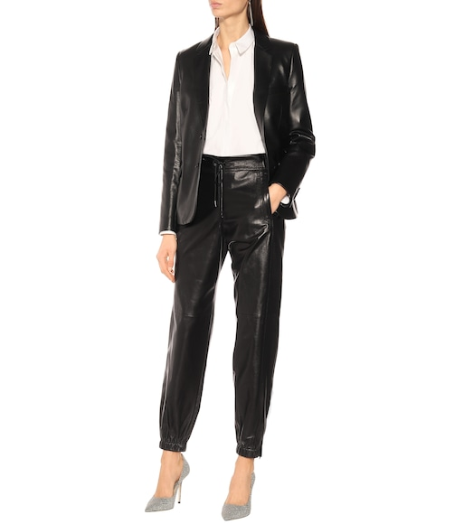 Saint Laurent - High-rise leather pants - mytheresa.com