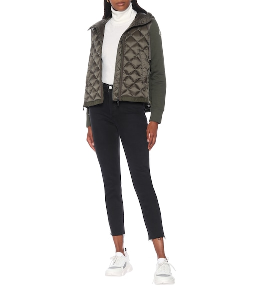 Moncler - Down and jersey jacket - mytheresa.com