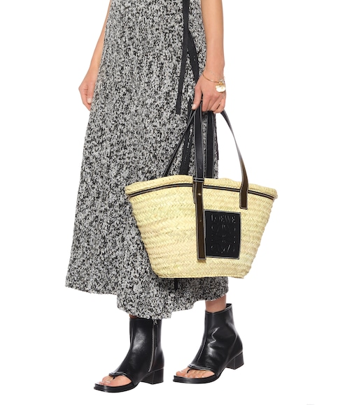 Loewe - Leather-trimmed woven basket tote - mytheresa.com