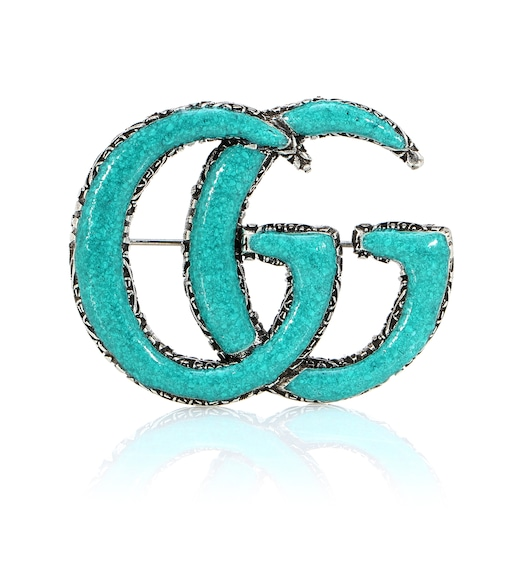 Gucci - Double G sterling silver and turquoise brooch - mytheresa.com