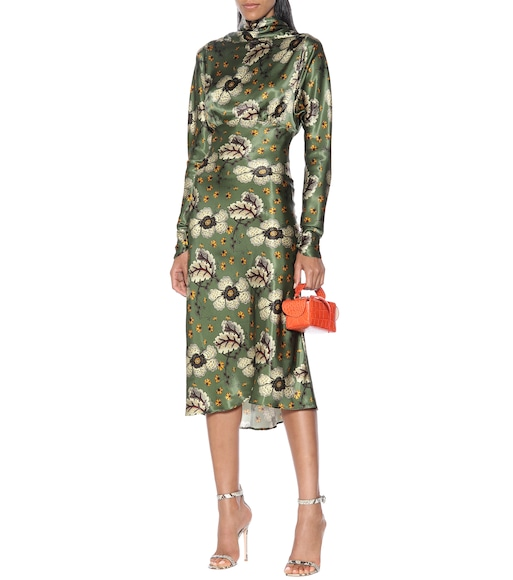 Etro - Floral satin midi dress - mytheresa.com