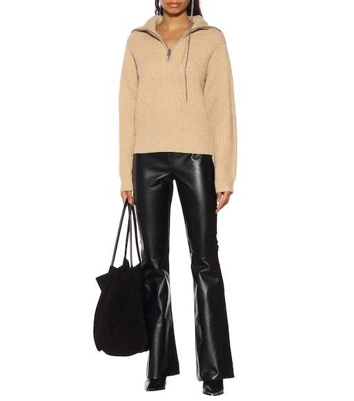 Acne Studios - Leather and ribbed-knit pants - mytheresa.com
