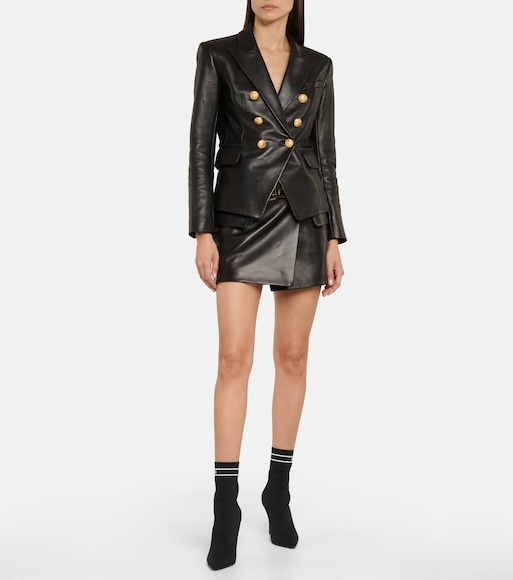 Balmain - Leather blazer - mytheresa.com