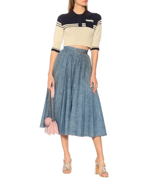 Miu Miu - Denim pleated skirt - mytheresa.com