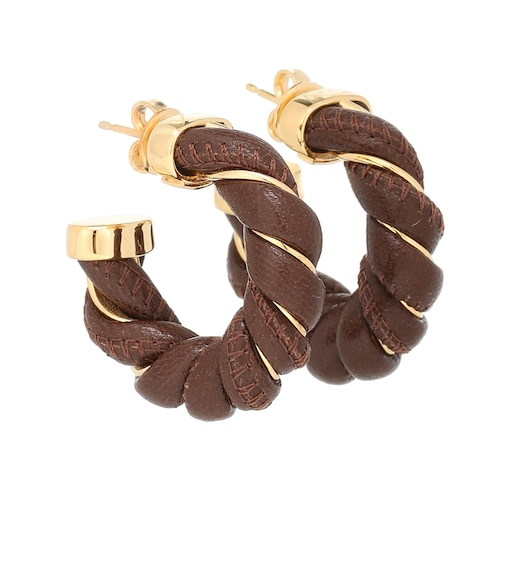 Bottega Veneta - Leather and sterling silver earrings - mytheresa.com