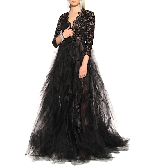 Oscar de la Renta - Lace and tulle gown - mytheresa.com
