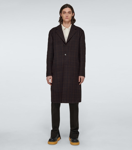 Bottega Veneta - Checked double-faced wool coat - mytheresa.com