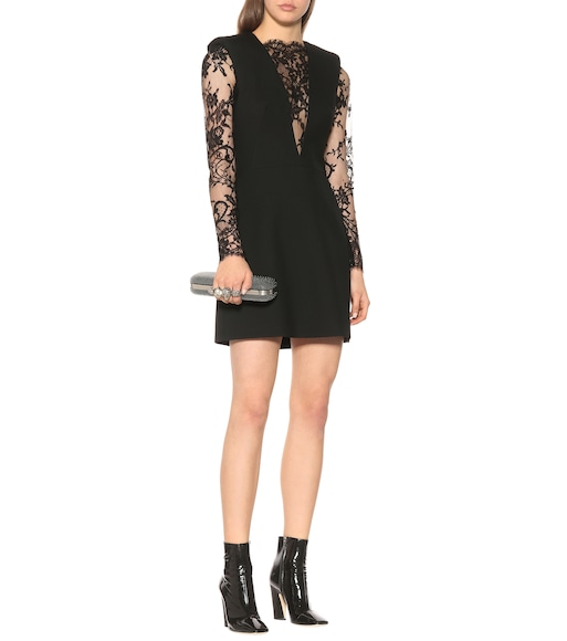 Alexander McQueen - Lace-paneled wool-blend minidress - mytheresa.com