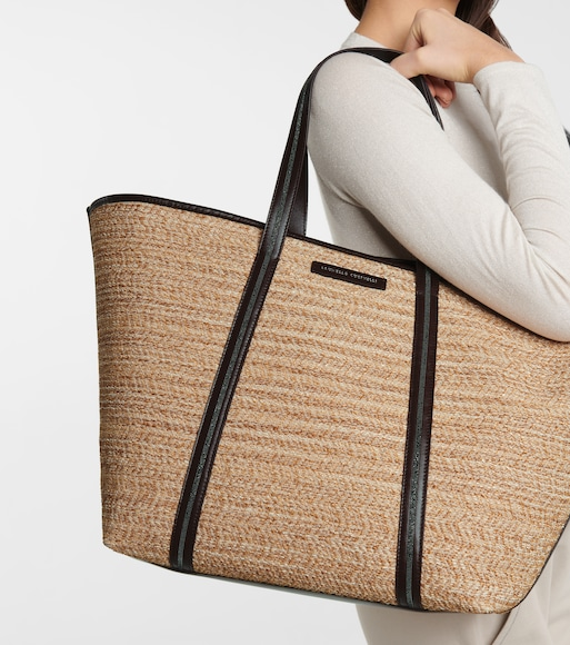 Brunello Cucinelli - Large raffia and leather tote - mytheresa.com