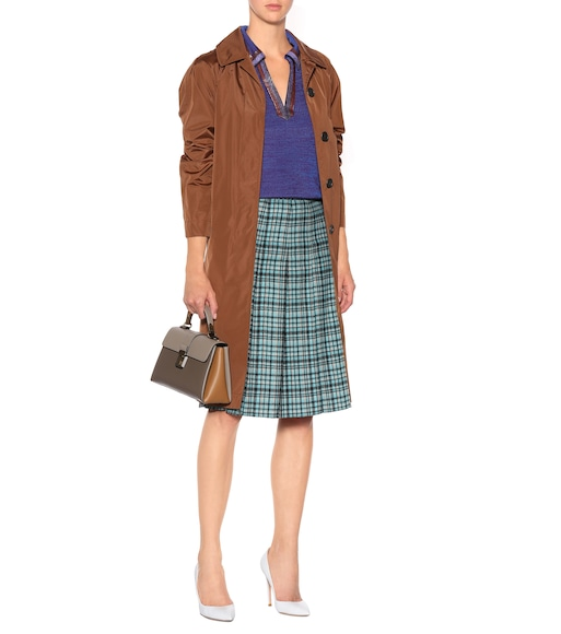 Bottega Veneta - Pleated plaid wool midi skirt - mytheresa.com