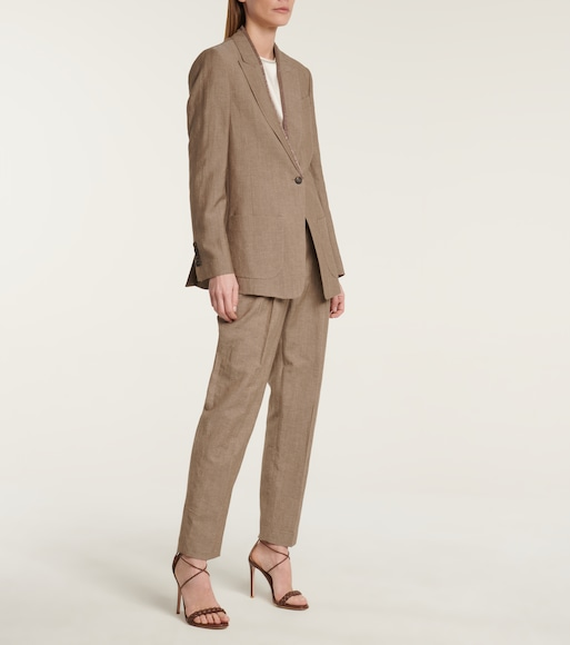 Brunello Cucinelli - High-rise straight wool and linen pants - mytheresa.com