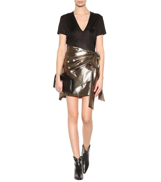 Saint Laurent - Asymmetric silk-blend skirt - mytheresa.com