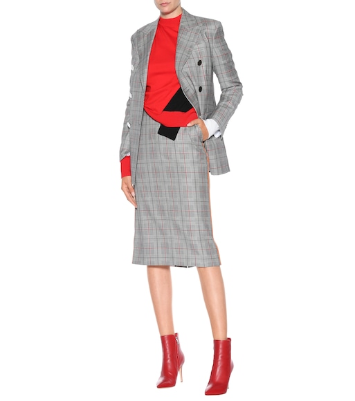 0c8d66bf4a580 Calvin Klein 205W39NYC - Plaid double-breasted wool blazer - mytheresa.com