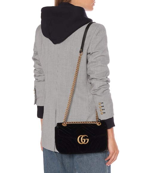 Gucci - GG Marmont Small velvet shoulder bag - mytheresa.com