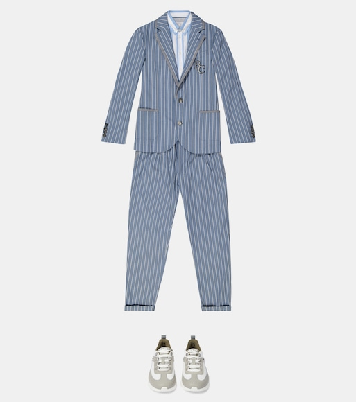Brunello Cucinelli Kids - Striped stretch-cotton suit - mytheresa.com