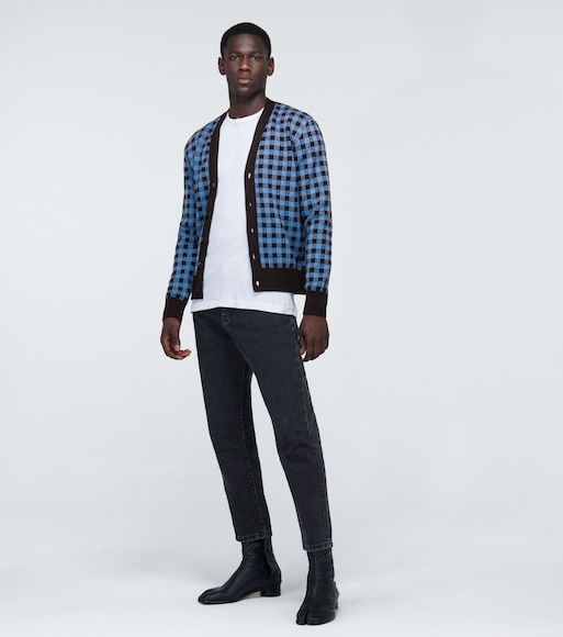 AMI PARIS - Vichy jacquard checked cardigan - mytheresa.com