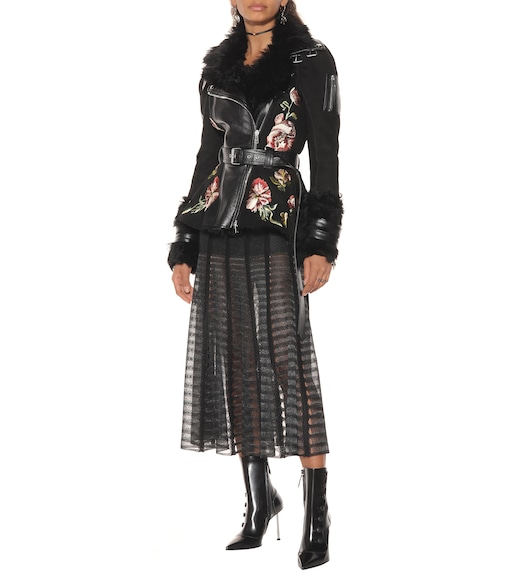 Alexander McQueen - Shearling and leather jacket - mytheresa.com