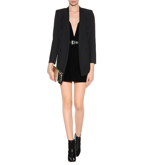 Saint Laurent - Velvet mini dress - mytheresa.com
